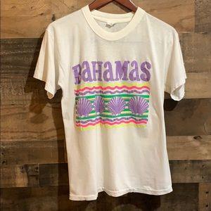 Vintage Bahamas Neon White Single Stitch T Shirt